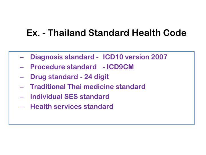 Ex. - Thailand Standard Health Code