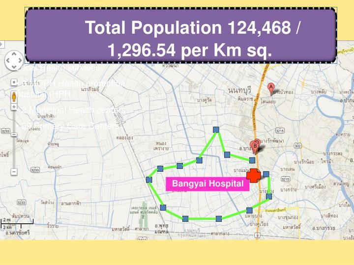 Total Population 124,468 / 1,296.54 per Km sq.