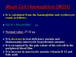 mean cell haemoglobin mch