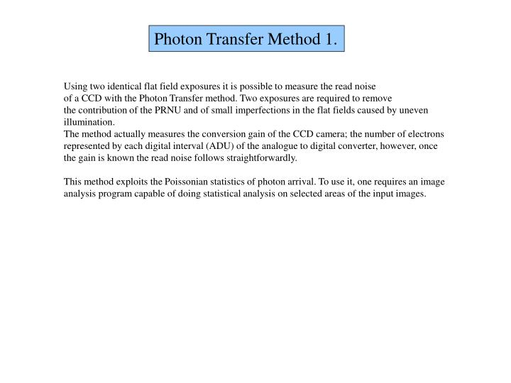 Photon Transfer Method 1.