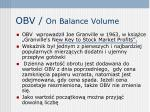 obv on balance volume