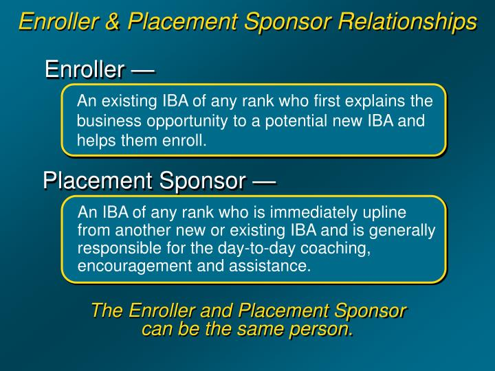 Enroller & Placement Sponsor Relationships