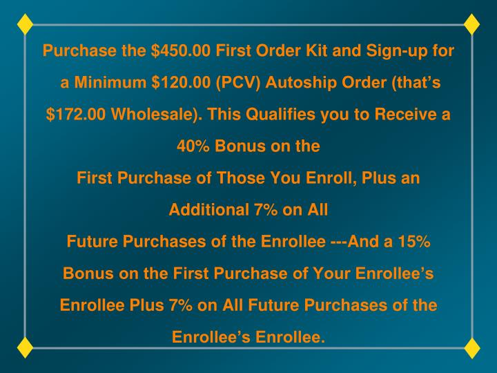 Purchase the $450.00 First Order Kit and Sign-up for