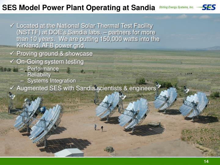 SES Model Power Plant Operating at Sandia