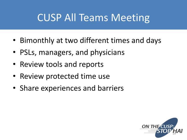 CUSP All Teams Meeting