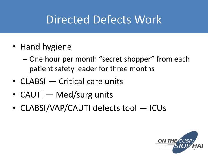 Directed Defects Work