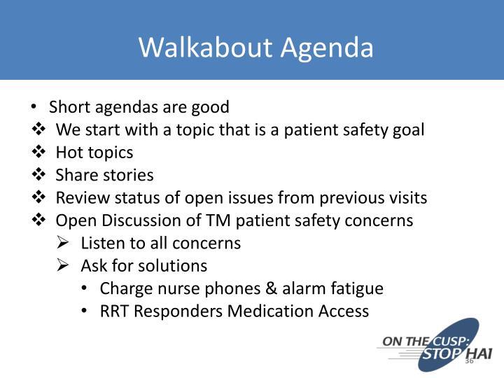 Walkabout Agenda
