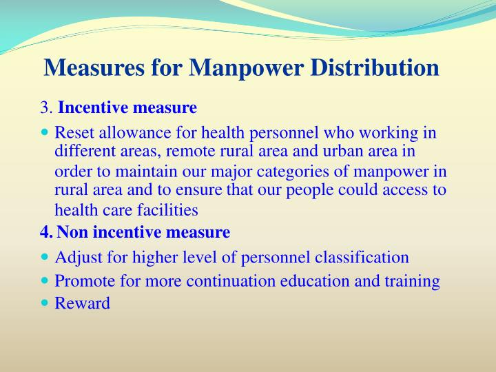 Measures for Manpower Distribution