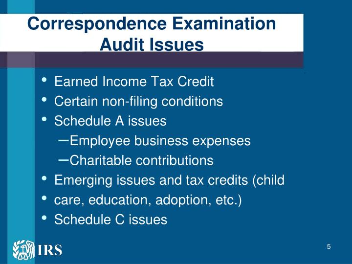 Correspondence Examination Audit Issues