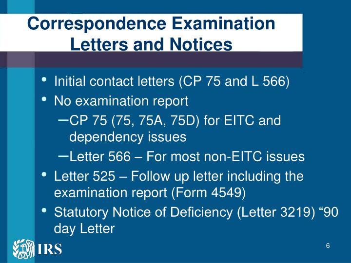 Correspondence Examination Letters and Notices