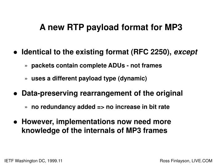 A new RTP payload format for MP3