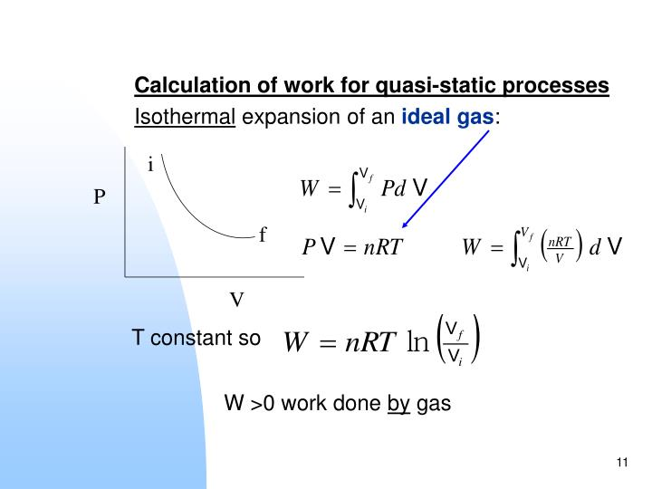 Calculation of work for quasi-static processes