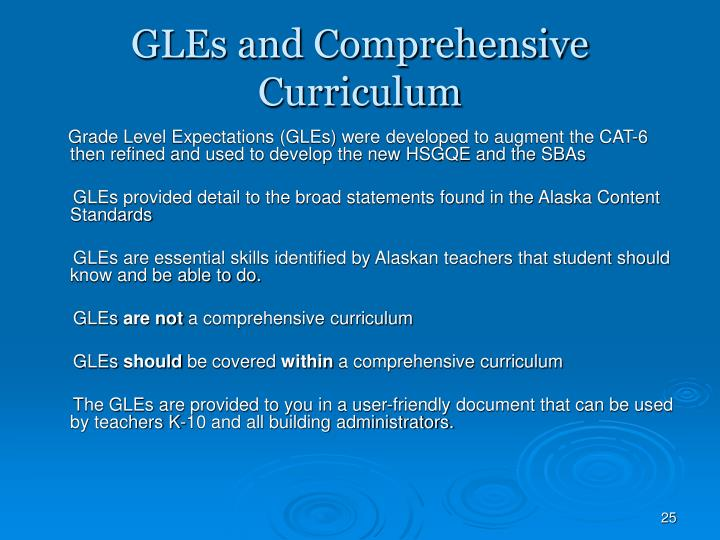 GLEs and Comprehensive Curriculum