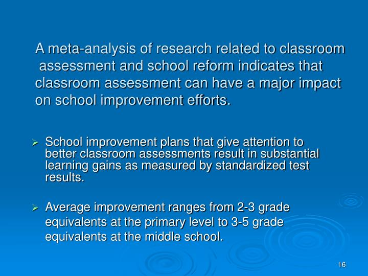 A meta-analysis of research related to classroom