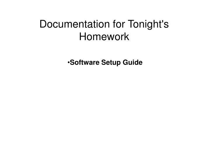 Documentation for Tonight's Homework