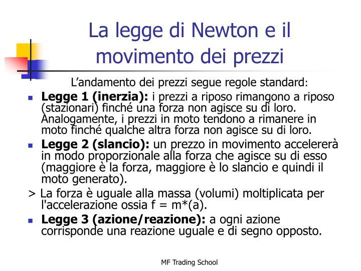 La legge di Newton e il movimento dei prezzi