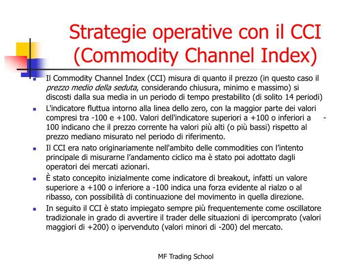 Strategie operative con il CCI (Commodity Channel Index)