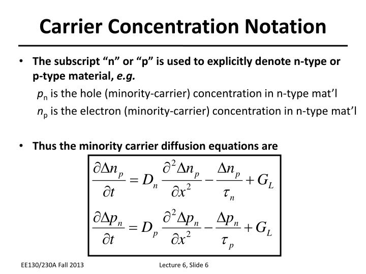 Carrier Concentration Notation
