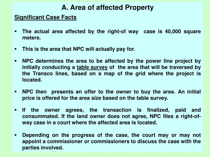 A. Area of affected Property