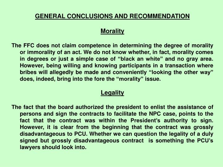 GENERAL CONCLUSIONS AND RECOMMENDATION