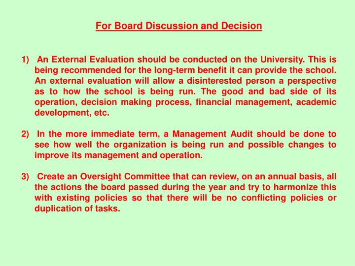 For Board Discussion and Decision