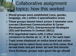 collaborative assignment topics how this worked