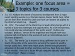 example one focus area 3 topics for 3 courses