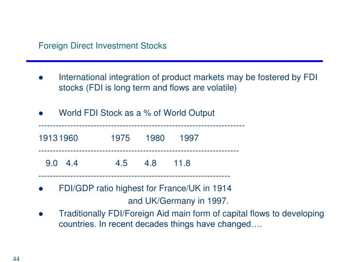 Foreign Direct Investment Stocks