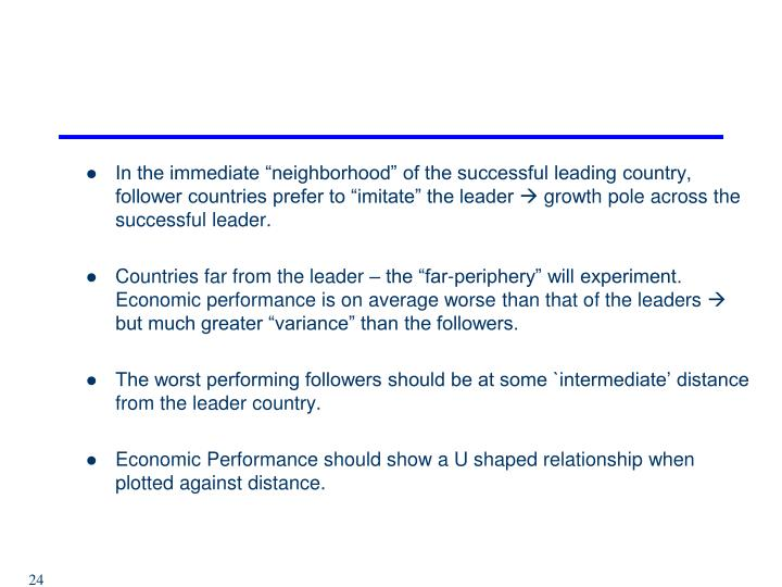 "In the immediate ""neighborhood"" of the successful leading country, follower countries prefer to ""imitate"" the leader"