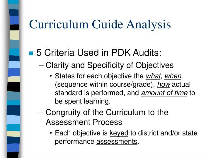 Curriculum Guide Analysis