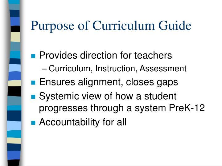 Purpose of Curriculum Guide