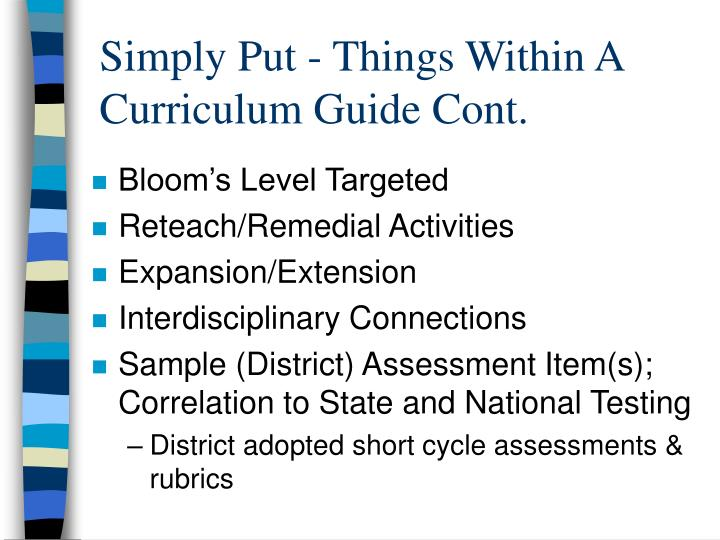 Simply Put - Things Within A Curriculum Guide Cont.