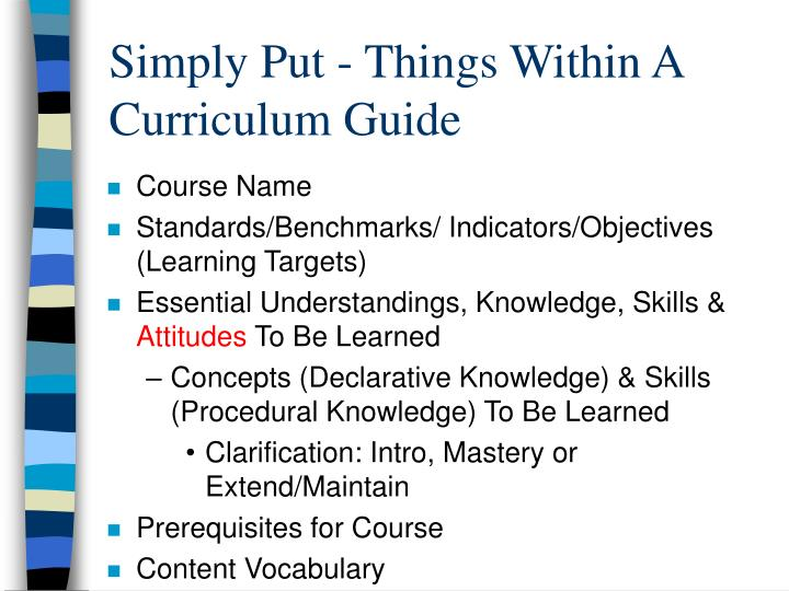 Simply Put - Things Within A Curriculum Guide