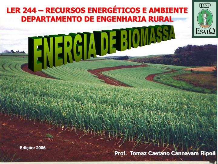LER 244 – RECURSOS ENERGÉTICOS E AMBIENTE