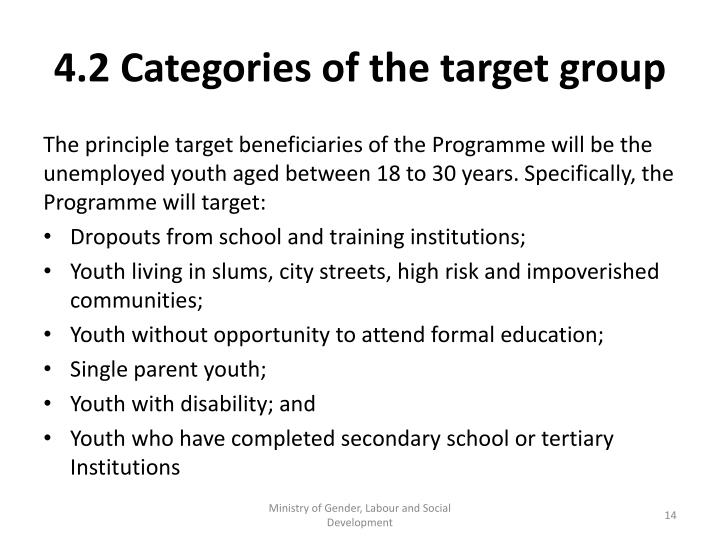 4.2 Categories of the target group