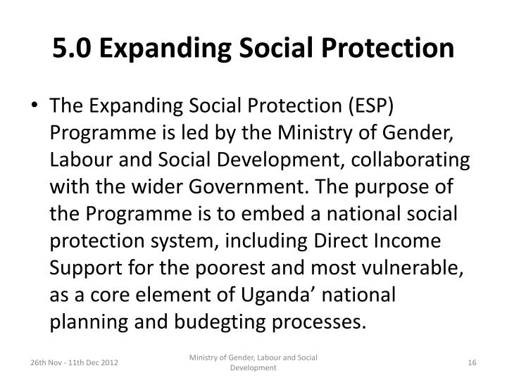 5.0 Expanding Social Protection