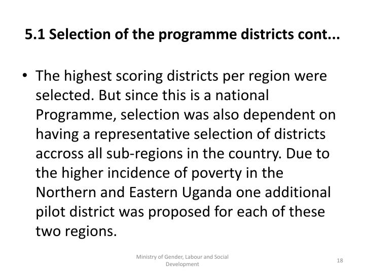 5.1 Selection of the programme districts cont...