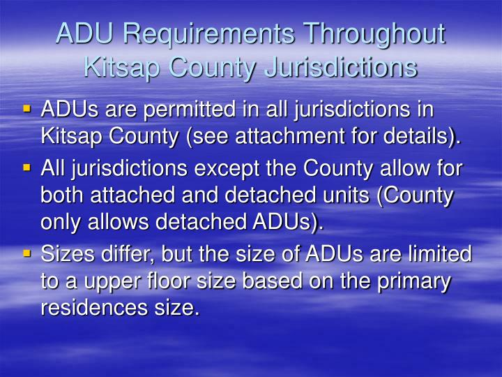 ADU Requirements Throughout