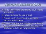 community benefits of adus