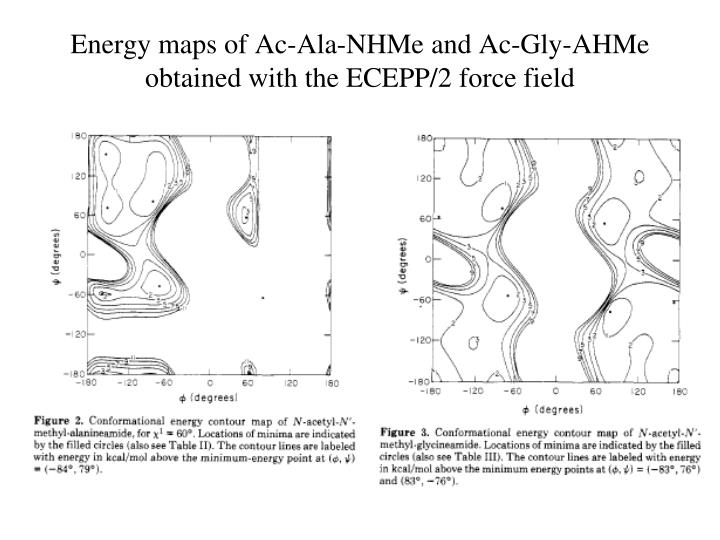 Energy maps of Ac-Ala-NHMe and Ac-Gly-AHMe obtained with the ECEPP/2 force field