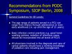 recommendations from podc symposium siop berlin 20081