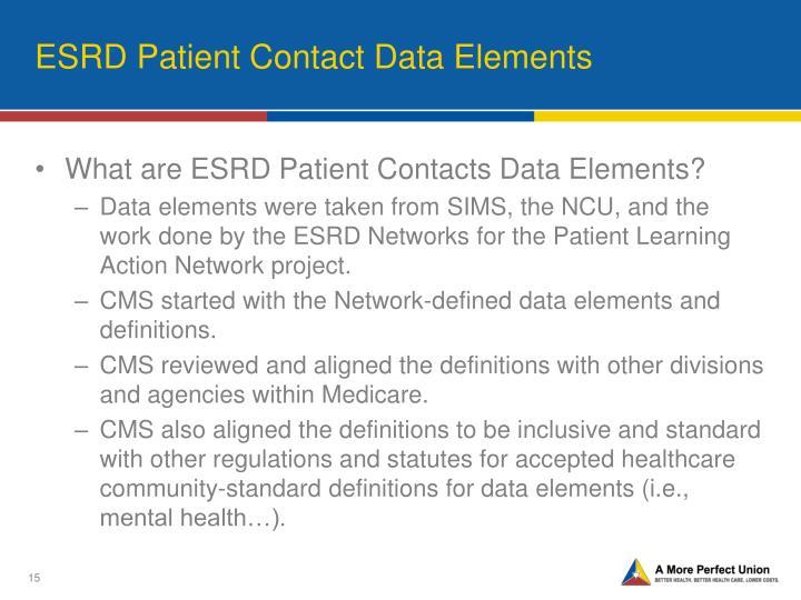 ESRD Patient Contact Data Elements