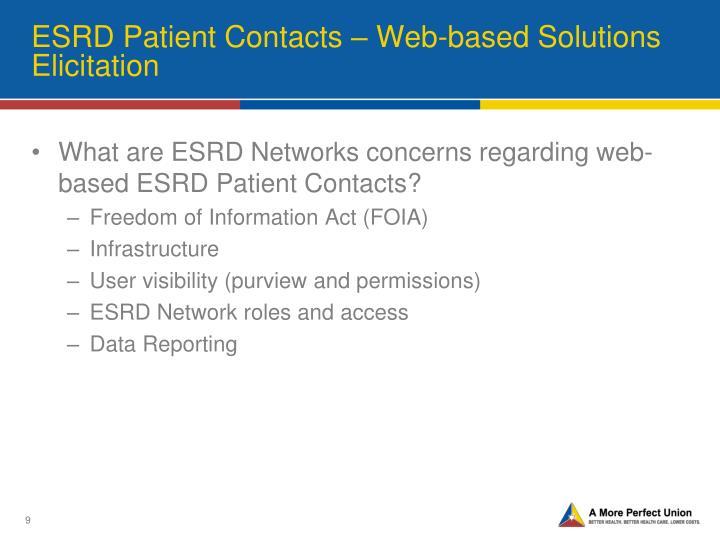 ESRD Patient Contacts – Web-based Solutions Elicitation