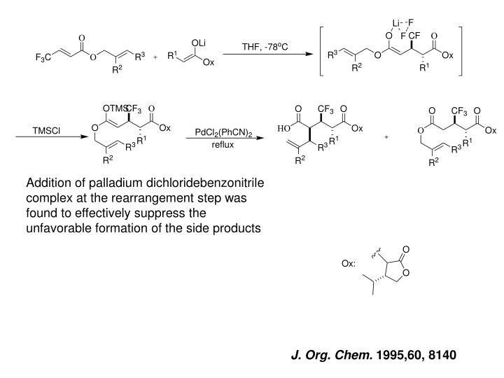 Addition of palladium dichloridebenzonitrile