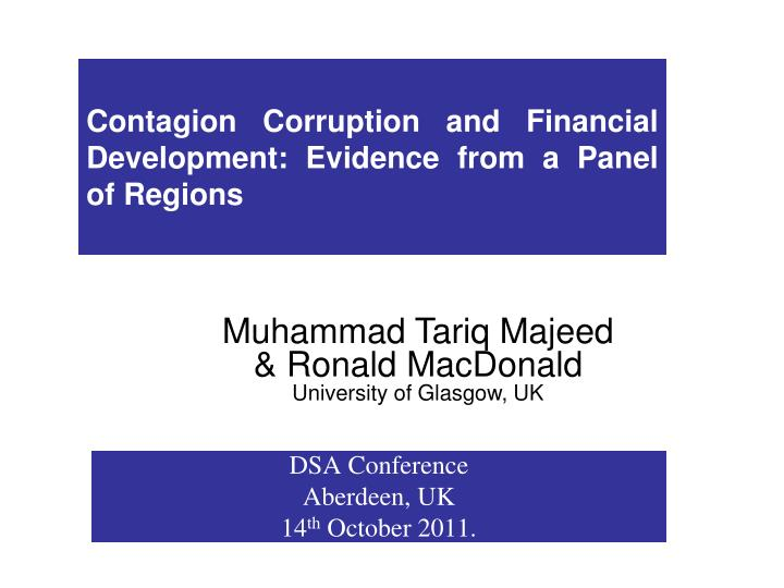 Contagion Corruption and Financial Development: Evidence from a Panel of Regions