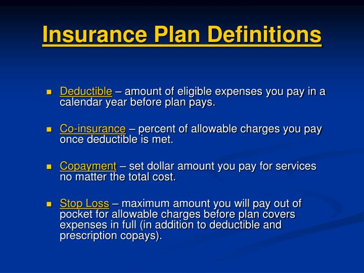 Insurance Plan Definitions