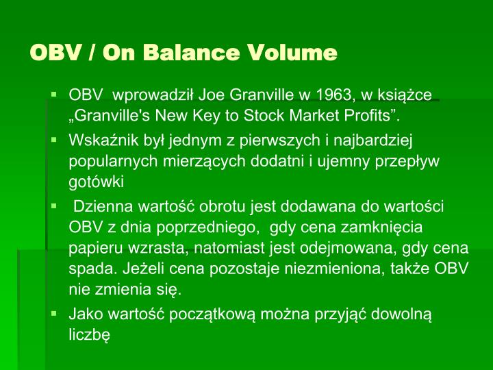 OBV / On Balance Volume