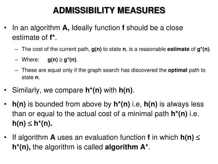 ADMISSIBILITY MEASURES