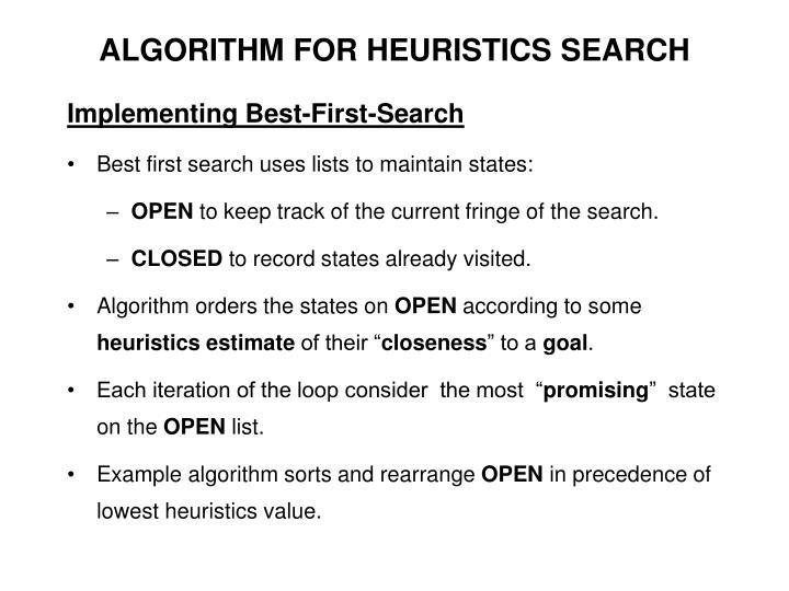 ALGORITHM FOR HEURISTICS SEARCH