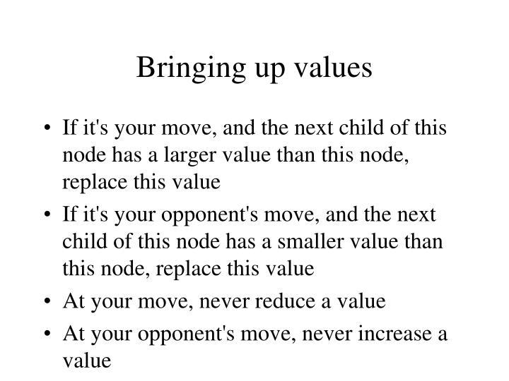 Bringing up values